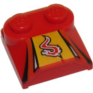 LEGO Bonnet 2 x 2 x 2/3 with Red dragon without Curved End (41855)