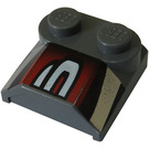 LEGO Bonnet 2 x 2 x 2/3 with White curved panels on red and black without Curved End (41855)