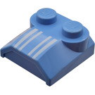 LEGO Bonnet 2 x 2 x 2/3 with White Stripes without Curved End (41855)