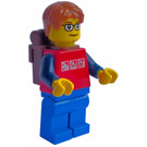 LEGO Boy with Backpack, 3 Silver Logos and Glasses Minifigure