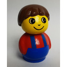 LEGO Boy with Blue Base and Red Top with Blue Suspenders Primo Figure