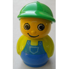 LEGO Boy with Blue Base, Lime Top, Blue Overalls Minifigure