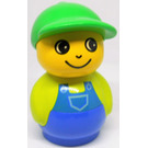 LEGO Boy with Blue Base, Lime Top, Blue Overalls Primo Figure