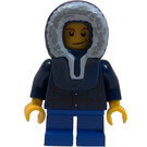 LEGO Boy with Dark Blue Plaid Shirt, Short Blue Legs, and Blue Parka Hood Minifigure