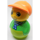 LEGO Boy with Lime Base, Green Top, Blue neckerchief Pattern Primo Figure