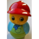 LEGO Boy with Lime Base, Light Blue Top, Lime Overalls Minifigure