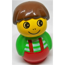 LEGO Boy with Red Base and Green Top with white stripes/red suspenders Primo Figure