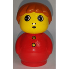 LEGO Boy with red base, red top with buttons and dark orange hair Primo Figure