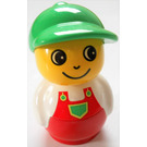 LEGO Boy with Red Base, White Top, Red Overalls Primo Figure