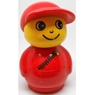 LEGO Boy with red hat and red all in one suit with diagonal zipper Primo Figure