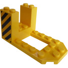 LEGO Bracket 4 x 7 x 3 with Black and Yellow Danger Stripes on Both Sides Sticker (30250)