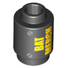 LEGO Brick 1 x 1 Round with Yellow 'BAT MERCH' with Open Stud (3062 / 29890)