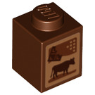 LEGO Brick 1 x 1 with Cocoa Carton (Cow and Chocolate) Decoration (21662)
