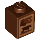 LEGO Brick 1 x 1 with Cocoa Carton (Cow and Chocolate) Decoration (3005 / 21662)