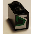 LEGO Brick 1 x 2 with Green and White Arrow (Left) Sticker (3004)