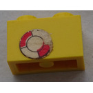 LEGO Brick 1 x 2 with Life Preserver Ring Sticker (3004)