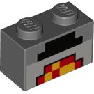 LEGO Brick 1 x 2 with Minecraft Black, Red, and Yellow Blocks (3004 / 37228)