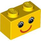 LEGO Brick 1 x 2 with Smiling Face with Eyelashes (3004 / 89080)