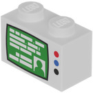 LEGO Brick 1 x 2 with TV Decoration (3004)