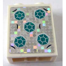 LEGO Brick 1 x 2 x 2 with Dark Turquoise Hexagon on Holographic Silver Sticker with Inside Stud Holder (3245)