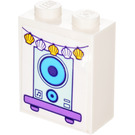 LEGO Brick 1 x 2 x 2 with Speaker Sticker (3245)