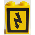 LEGO Brick 1 x 2 x 2 with Sticker Electrical Danger Sign - Right Sticker (3245)