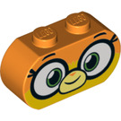 LEGO Brick 1 x 3 x 1.3 with Curved Ends with Dr. Fox face Decoration (38265)