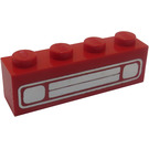 LEGO Brick 1 x 4 with Chrome Car Grille Decoration (Embossed) (3010)