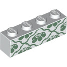 LEGO Brick 1 x 4 with Green flowers (3010 / 26395)