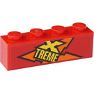 LEGO Brick 1 x 4 with Yellow 'XTREME' (Right Side) Sticker