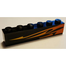 LEGO Brick 1 x 6 with Orange Flame (Right) Sticker (3009)