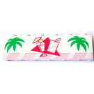 LEGO Brick 1x6 and Pink Plate Assembly with Palmtree Leaves and Icecream Cup and Softdrink Sticker