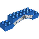 LEGO Brick 2 x 10 x 2 Arch with Silver Police Star Badge and Stonework (61321 / 93801)