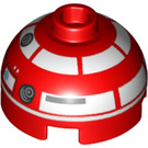 LEGO Brick 2 x 2 Round with Dome Top with R3-T2 (Hollow Stud with Bottom Axle Holder x Shape + Orientation) (18841 / 36305)