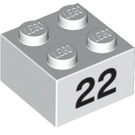 LEGO Brick 2 x 2 with '22' (14919 / 97660)