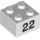LEGO Brick 2 x 2 with '22' (3003 / 14919 / 97660)