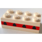 LEGO Brick 2 x 4 without Cross Supports with 4 Plane Windows in a Thin Red Stripe (3001)