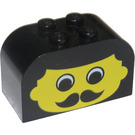 LEGO Brick 2 x 4 x 2 with Curved Top with Male Face, Moustache (4744)