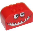 LEGO Brick 2 x 4 x 2 with Curved Top with Smiling Monster Face Decoration (4744)