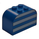 LEGO Brick 2 x 4 x 2 with Curved Top with White Stripes (4744)