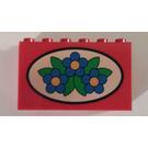 LEGO Brick 2 x 6 x 3 with Blue Flowers inside an Oval (6213)