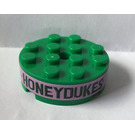 LEGO Brick 4 x 4 Round with Hole with Honeydukes on Pink Background Sticker