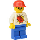 LEGO Brickster with White Shirt with Red LEGO Brick, Blue Legs, Freckles, and Blue Cap Minifigure