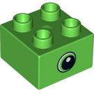 LEGO Bright Green Duplo Brick 2 x 2 with Decoration (37397)
