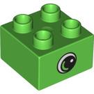 LEGO Bright Green Duplo Brick 2 x 2 with Eye Decoration (10518)