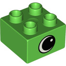 LEGO Bright Green Duplo Brick 2 x 2 with Eye on two sides and white spot (82062)