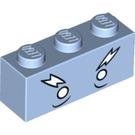 LEGO Bright Light Blue Brick 1 x 3 with Decoration (32734)