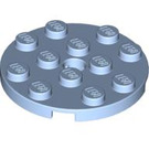 LEGO Bright Light Blue Plate 4 x 4 Round with Hole and Snapstud (60474)