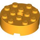 LEGO Bright Light Orange Brick 4 x 4 Round with Pinhole and Snapstud (87081)