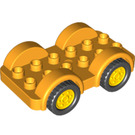 LEGO Duplo Car with Black Wheels and Yellow Hubcaps (11970 / 35026)